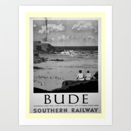 retro noir et blanc Bude Art Print