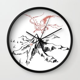 The Lonely Dragon in flight on the Mountain Wall Clock