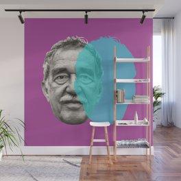 Gabriel Garcia Marquez - purple blue portrait Wall Mural
