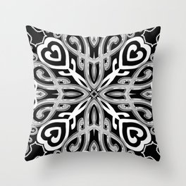 Black+White Ornate Hearts Throw Pillow