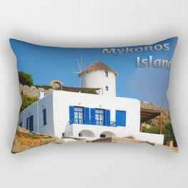 House and Windmill - Mykonos Island Greece Rectangular Pillow