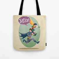 justice Tote Bags featuring JUSTICE! by stoopz