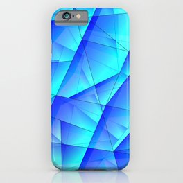 Abstract celestial pattern of blue and luminous plates of triangles and irregularly shaped lines. iPhone Case
