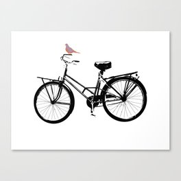 Baker's bicycle with bird Canvas Print