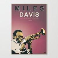 miles davis Canvas Prints featuring Miles Davis by Danilo Piga