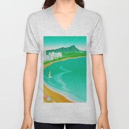 Waikiki Beach Diamond Head Watercolor in Kitschy Mid Century Style Unisex V-Neck