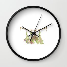 Original Herbs in Pastel Color Wall Clock
