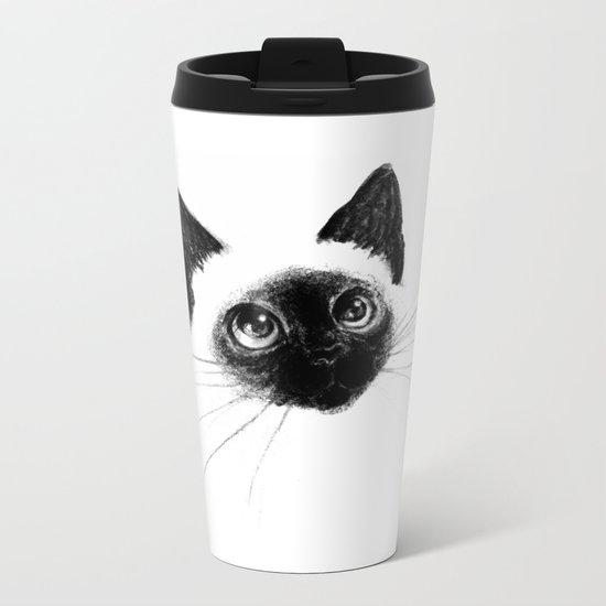 Curious Siamese Kitten Metal Travel Mug