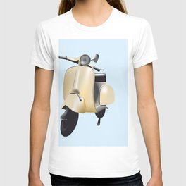 Three Vespa scooters in the colors of the Italian flag T-shirt