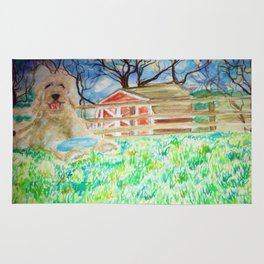 Goldendoodle Cuteness Watercolor Painting Rug