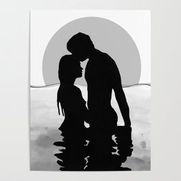 Lovers Black and White Poster