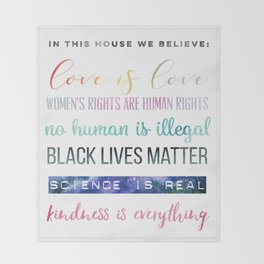 In This House We Believe... Resistance Art, Political Art Throw Blanket