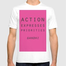 Action Gandhi Quote White MEDIUM Mens Fitted Tee