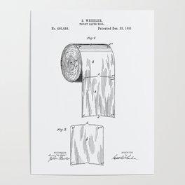 Toilet Paper Roll 1891 Patent Art Illustration Whitepaper Poster