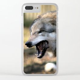 The wolf is hungry Clear iPhone Case