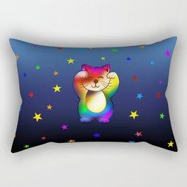 Cute rainbow lucky cat with stars Rectangular Pillow