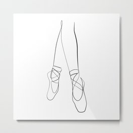 Pointe shoes on the feet of a ballerina Metal Print