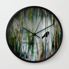 Bird In The Cattails Wall Clock