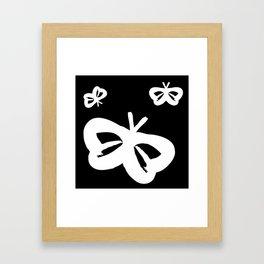 Flying Butterflies Pattern White on Black Framed Art Print