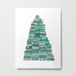 Christmas Book Tree: White Background Metal Print