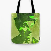 charlie chaplin Tote Bags featuring Charlie Chaplin by Pedro Nogueira