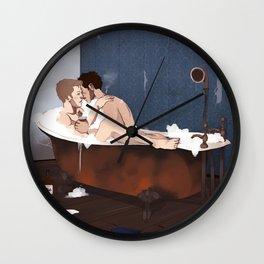destiel shower curtain Wall Clock