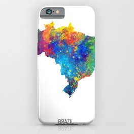 Brazil Watercolor Map iPhone Case