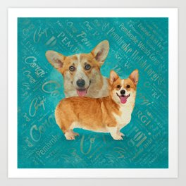 Corgi Collage Abstract Mixed Media Art Print