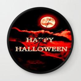 Happy Halloween Red Moon Wall Clock