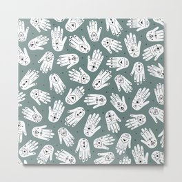 Indian summer eye bohemian hamsa hand of fatima pattern mint teal gray Metal Print