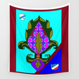 Fancy Royal Fleur de Lis and Shields and Ribbon Wall Tapestry