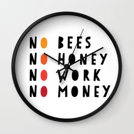 No Bees No Honey No Work No Money Wall Clock