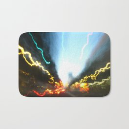 Abstract Downtown Flow - Light Painting Bath Mat