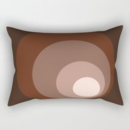 Retro Circles Brown Rust Taupe Cream Rectangular Pillow