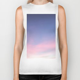 Blue evening sky with pink clouds. Photography Biker Tank