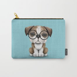 Cute English Bulldog Puppy Wearing Glasses on Blue Carry-All Pouch