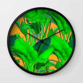 BRIGHT GREEN & GOLD TROPICAL FOLIAGE ART Wall Clock