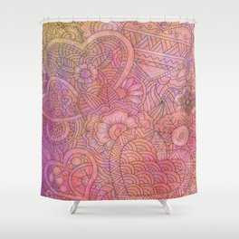 Heats and Flowers Shower Curtain