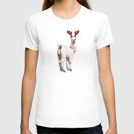 Christmas Baby Llama Reindeer T-shirt