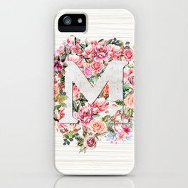 Initial Letter M Watercolor Flower iPhone Case