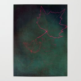 pink leaves over green Poster