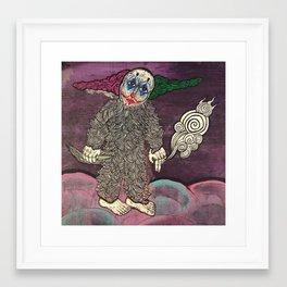 Clown wolf says find true north Framed Art Print