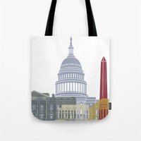 washington dc Tote Bags featuring Washington DC skyline poster by Paulrommer