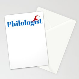 Philologist Ninja in Action Stationery Cards