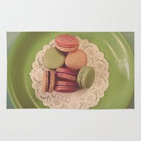 macaroon Area & Throw Rugs featuring Macarons on Green by Jessica Torres Photography