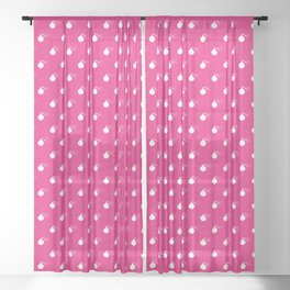 HOT PINK & WHITE BOMB DIGGITYS ALL OVER LARGE Sheer Curtain