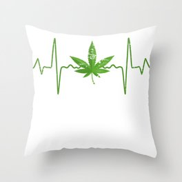 Heartbeat Weed Throw Pillow