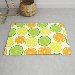 Citrus Slices on White Rug