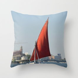Felucca In Cairo Throw Pillow