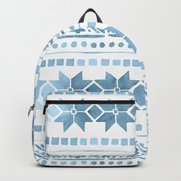 White & Blue Nordic Pattern  Backpack